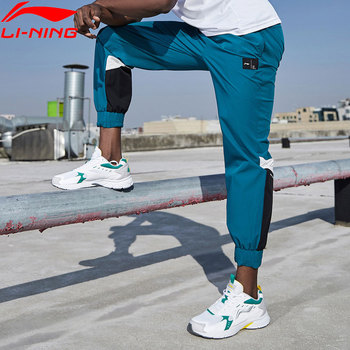 Мужские тренировочные брюки Li-Ning, 88% нейлоновые спортивные брюки контрастной расцветки с подкладкой из 12% спандекса, AYKQ053, MKY551