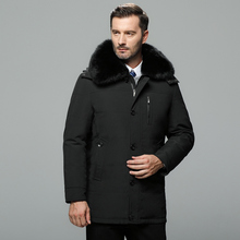 2019 New Middle-aged Winter Down Jacket Men Hooded Real Fur Collar Plus Size Men Winter Coat Parkas Thicken Warm Men Clothing цены онлайн
