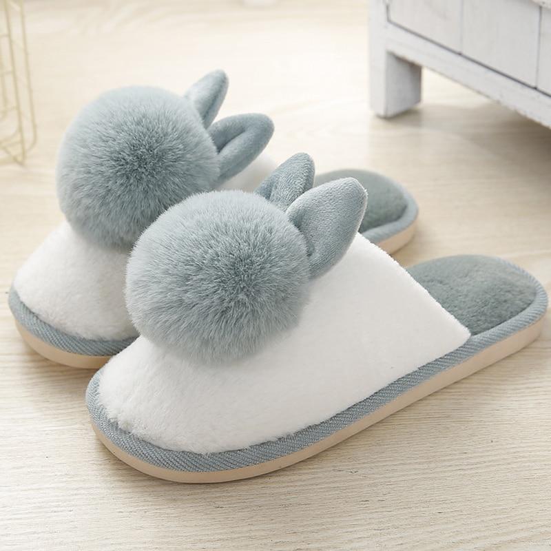 H3afa40096ac44514ab1eb4d387db5377S Pantufa Chinelos femininos com pele adorável coelho de pelúcia casa sapatos para mulher antiderrapante retalhos 2020 feminino chinelos interior inverno