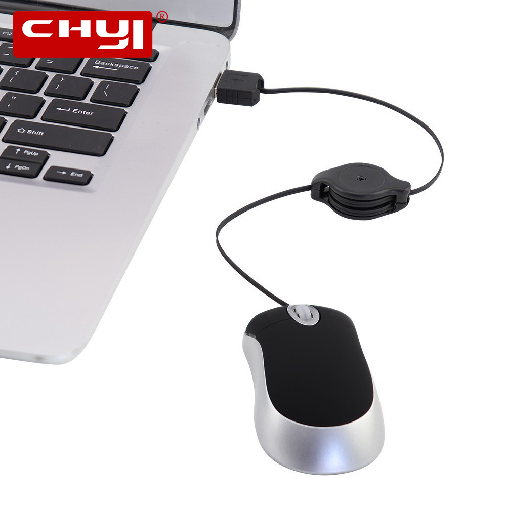 Mini Wired USB Mouse Computer Mause Kids Mice Portable Retractable Cable 1600 DPI Adjustable Small Mice 3D Mause For Laptop PC