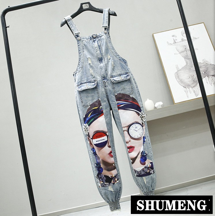 Plus Size Strap Jeans Pants Girls Student Fashion Holes Cartoon Beads Harun Spring Autumn Vintage Denim Pants Overall Trousers