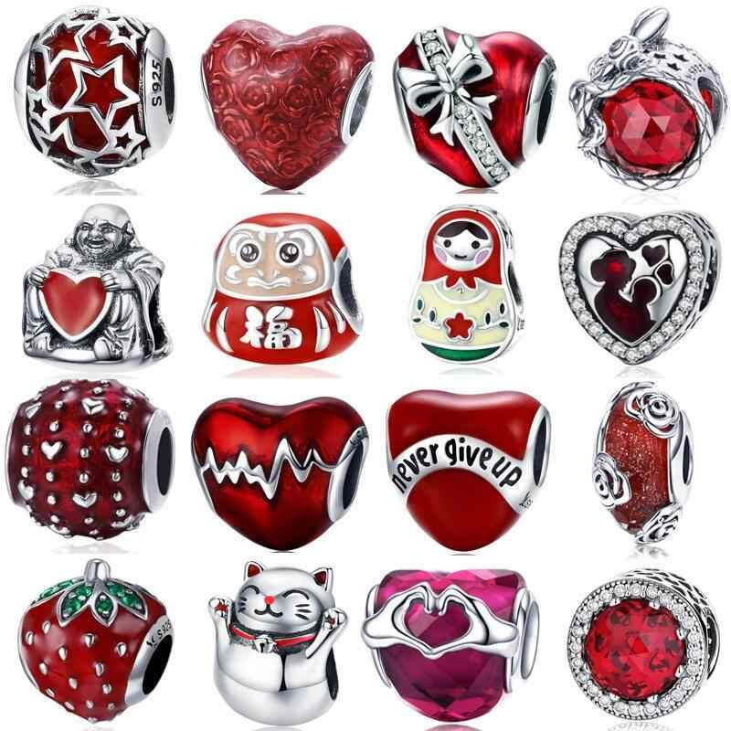 INBEAUT Genuine 925 Sterling Silver China Red Love Touched Heart Mom Baby Beads fit Pandora Bracelet Star Letter Crystal Charms