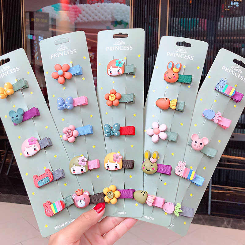 5Pcs//set kids baby girls cute cartoon hair clips hairpins hair accessories UK