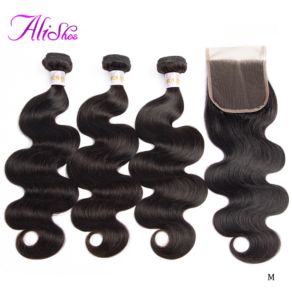 Alishes Hair Brazilian Body Wave Bundles With Closure 3PCS Human Hair Bundle With Closure 4x4 Lace Middle/Free/Three Remy Hair