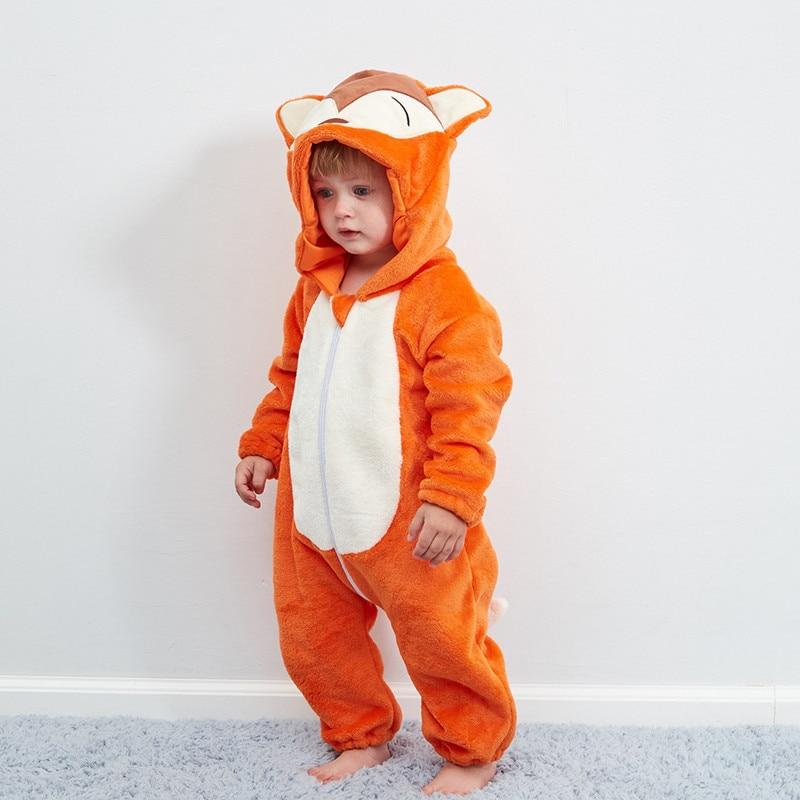 Children's Pajamas Baby Cute Fox One-piece Pajamas Autumn And Winter Warm Flannel Baby Onesies Children's Romper