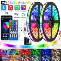 Tiras de Luces LED con WIFI y Bluetooth, RGBWW SMD 5050 2835 RGBWW, cinta Flexible impermeable de diodo, Control de 12V CC, color blanco cálido