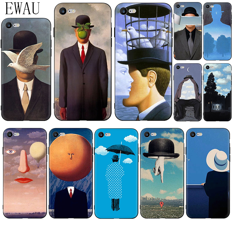 EWAU Rene Magritte Soft Silicone phone case for iphone 5 5s SE 6 6s 7 8