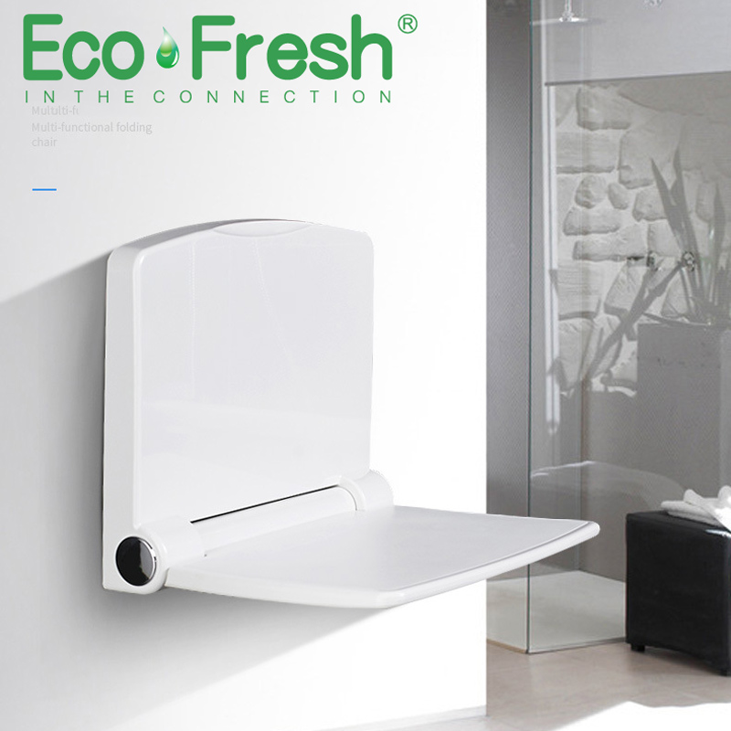 Ecofresh 200kg Bearing Folding Bathroom Stool Wall Mounted Toilet Seat Household Shower Room Bath Bench Shoes Footstool