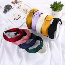 Solid Color Knot Headbands for Women Simple Fabric Knotted H