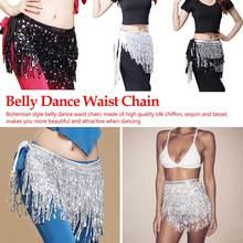 Women Sequin Belly Dancer Costume Tassel Wrap Skirt Club Mini Skirt Lady sequined belly dance Belted waist chain grommet belted waist plaid wrap skirt