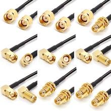 Rp sma macho a rp sma cabo de extensão hembra para antena wi-fi conector rf cabo rg174