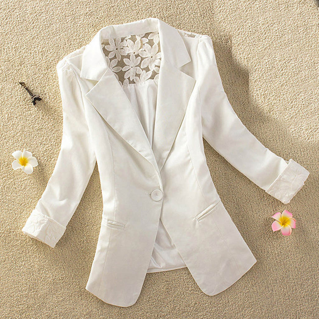 New Arrival Formal Women Blazer Single Button Office Coat Silm Autumn Fashion Female's Jacket Shawl Collar Blazer Back Lace Coat