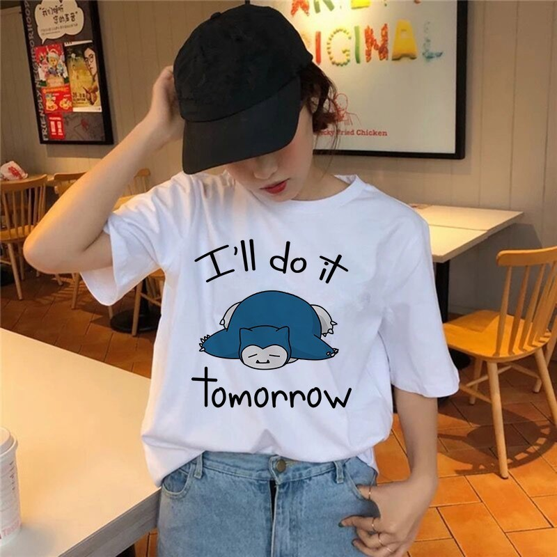 2019 Women Pokemon T Shirt Harajuku Funny Snorlax Togepi Squirtle Japanese T-Shirt Anime Female Tops Aesthetic Pikachu Clothes