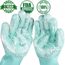 A pair Dishwashing Gloves Kitchen Silicone Cleaning Magic Dish Washing For Household Scrubber