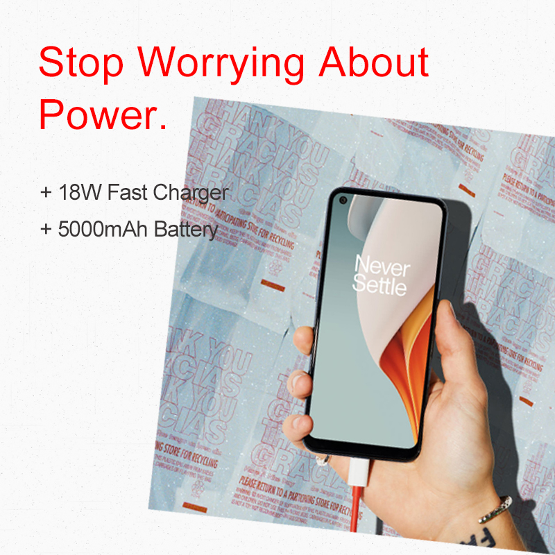 Global Version OnePlus Nord N100 4GB 64GB Smartphone 90Hz 6.52'' Screen 13MP Triple Cameras 5000mAh 18W OnePlus Official Store