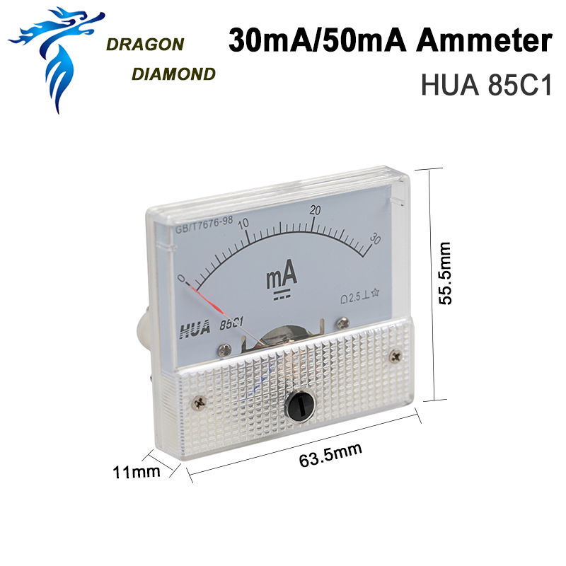 DRAGON DIAMOND 30mA50mA Ammeter HUA 85C1 DC 0-30mA 0-50mA Analog Amp Panel Meter Current For CO2 Laser Engraving Cutting Machine