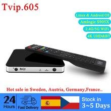 الأصلي الساخن مبيعات TVIP605 صندوق التلفزيون S905X دعم علبة تلفزيون بروتوكول الإنترنت لينكس و أندرويد OS 1G/8G Tvip 605 4K 2.4G/5G واي فاي وسائل الإعلام الجري