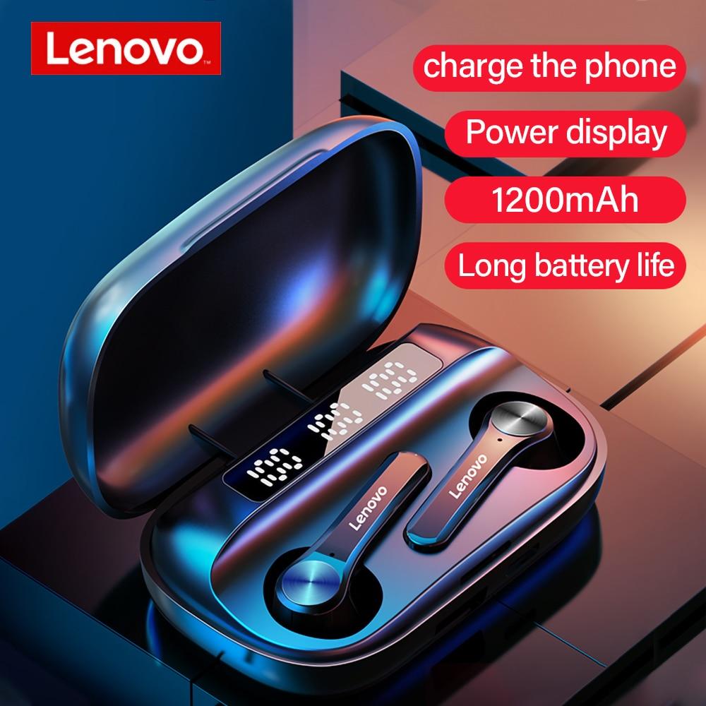 Lenovo QT81-auriculares TWS, inalámbricos por Bluetooth 1200mAh, con estuche de carga, auriculares de energía móvil, Auriculares deportivos con cancelación de ruido y micrófono