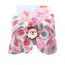 Christmas 7 Jumbo Hair Bows for Girls with Clips Glitter Santa Claus Print Ribbons Bowknot Hairgrips Party Kids Jojo