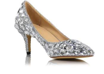 New design silver crystal bridal wedding shoes Women high heels rhinestone sexy nightclub shoes Genuine lether bridal pumps