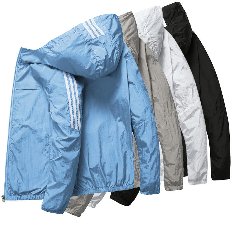 Men Jacket Spring summer Sun Protection Clothing Thin Slim Long Sleeve baseball Jackets Zipper Hooded Jacket