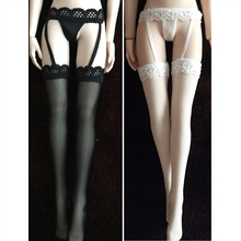 In stock 1/6 female soldier clothes black and white lace garter Siamese stockings movable doll suitable for 12-inch female model недорого