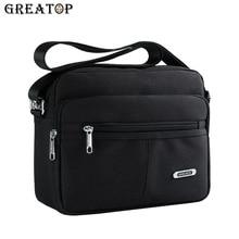 GREATOP Fashion Solid Canvas Messenger Bags Buckle Casual Portable Shoulder Bag Multi pocket Mens Crossbags Y0031