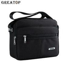 GREATOP 패션 솔리드 캔버스 메신저 가방 버클 캐주얼 휴대용 어깨 가방 멀티 포켓 망 크로스 가방 Y0031