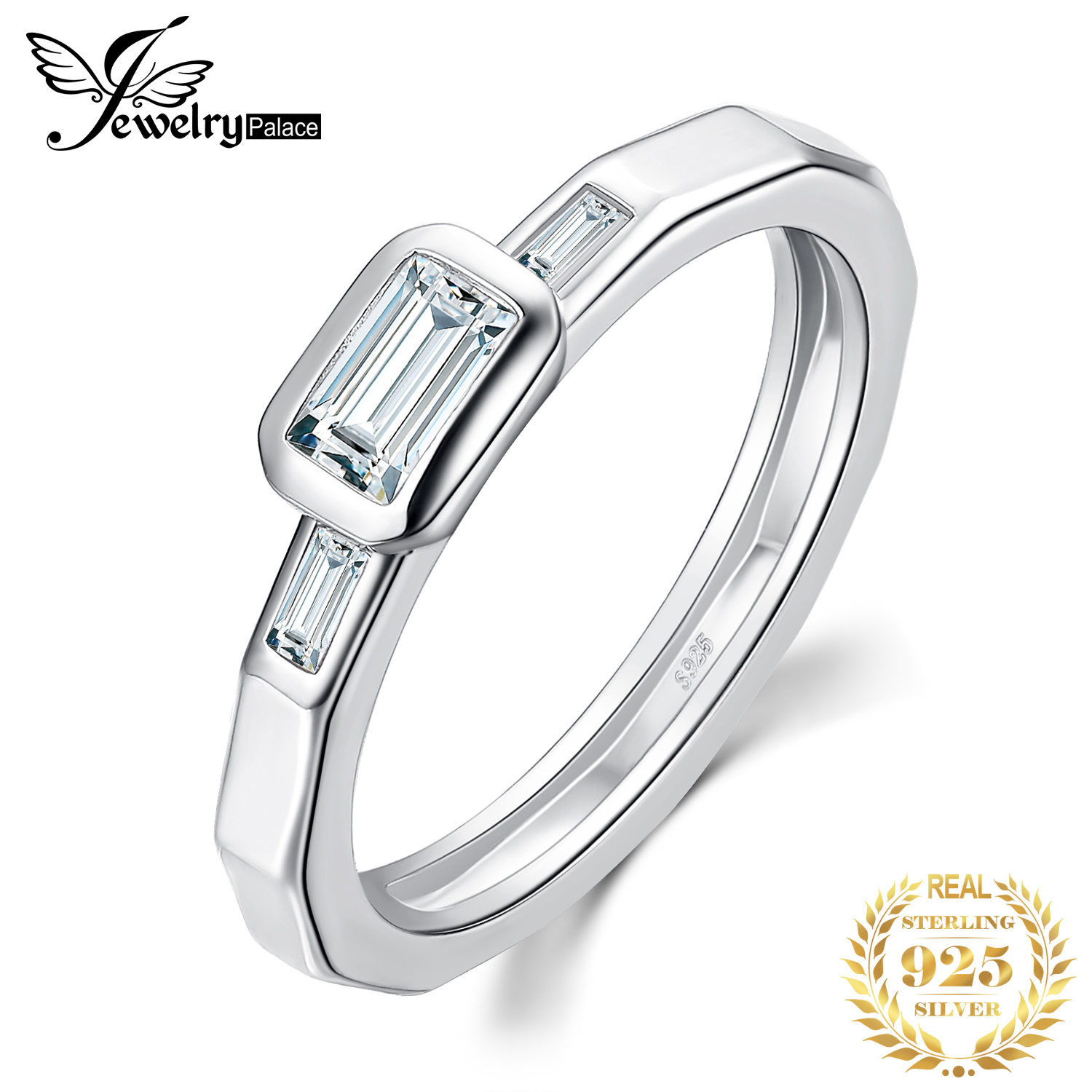 JewelryPalace 3 Stone CZ Engagement Ring 925 Sterling Silver Rings For Women Anniversary Ring Wedding Rings Silver 925 Jewelry