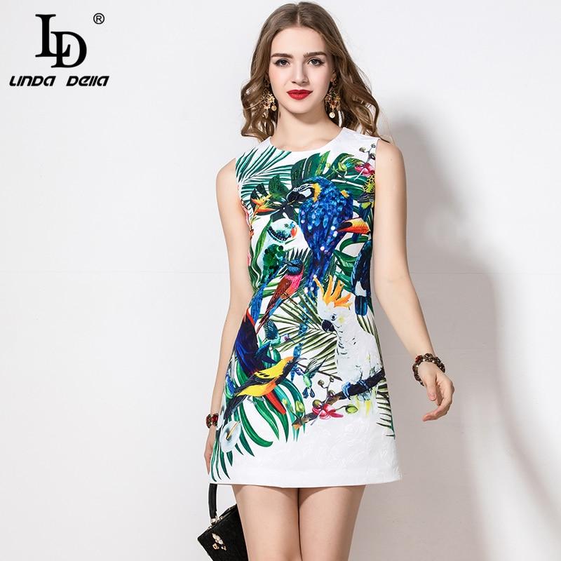 LD LINDA DELLA 2020 Fashion Runway Summer Dress Women's Sleeveless Casual Animal Flower Floral Print Sequin Beading Short Dress