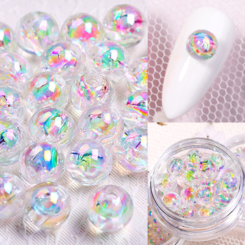 Cuentas brillantes 3D 1 caja de 3mm 4mm 6mm, diamantes de imitación de cristal mezclados para uñas, bolas de vidrio de Arte de uñas de resina epoxi pequeña, decoración de joyería DIY