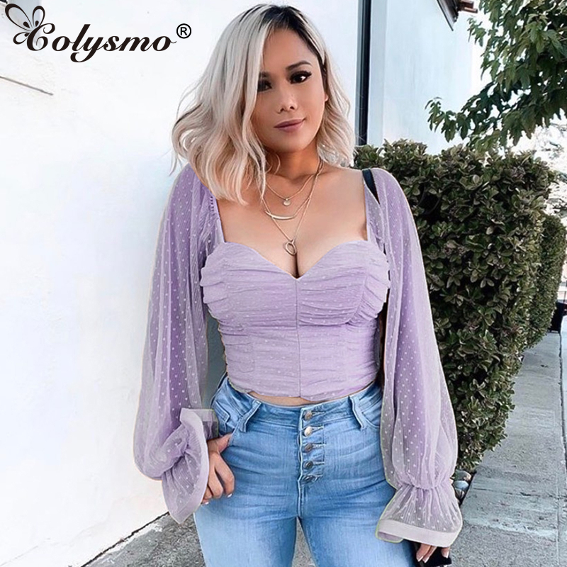 Colysmo Purple Long Puff Sleeve Women Blusas 2020 Spring Vintage Blouse Square Collar Elegant Polka Dots Womens Tops And Blouses