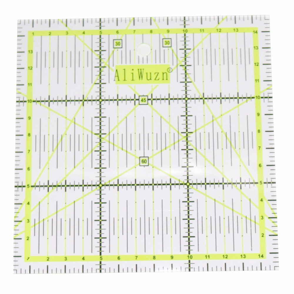 Regla de dibujo acrílico multifunción de alta calidad, regla de 15x15cm para medición de costura, Yardstick de tela de retales, suministros de oficina de la escuela, 1 unidad