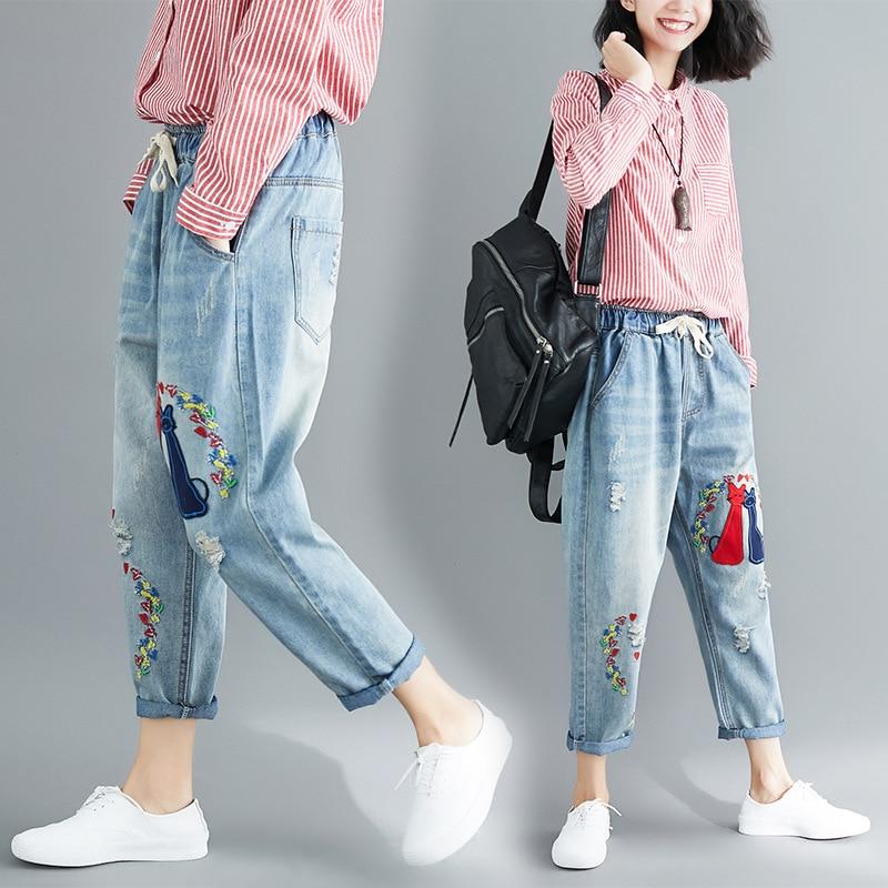 Séance Photo littérature et Art grande taille broderie jean Capri pantalons décontractés
