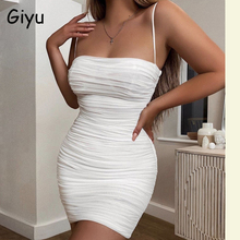 Giyu Summer Mini Dress Women Clothes 2020 Sexy Mesh Backless Bodycon Club