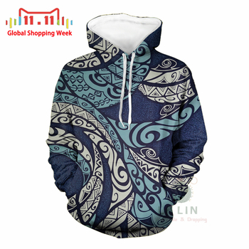 Wholesale Polynesian Traditional Tribal Printed Mens Sweatshirt Casual Customized Hoodie For Male Hoodies Plus Coat Samoa Tonga