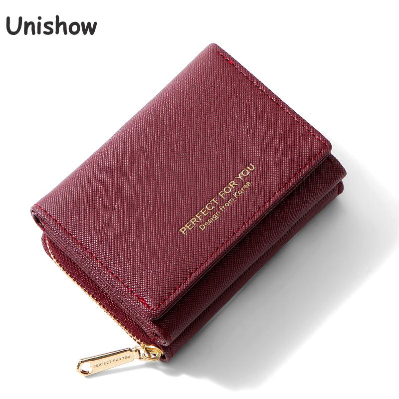 Unishow Fashion Women Small Wallet Multifunction Women Purse Trifold Female Wallet Many Departments Ladies Purse Coin Pocket