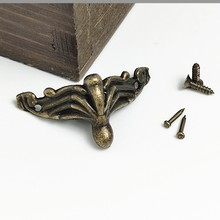 100pcs Antique Decorative Feet Gift Box Wooden Case Furniture Bottom Support Foot Leg Metal Corner Protector With Screws
