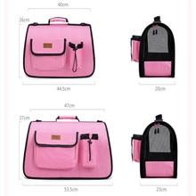Dog Bag Portable Pet Messenger Breathable Doggie Backpack Stripe Pink Cat