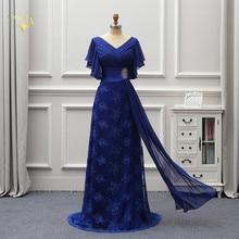 Длинные вечерние платья матери невесты размера плюс с коротким рукавом, женские кружевные платья 2020