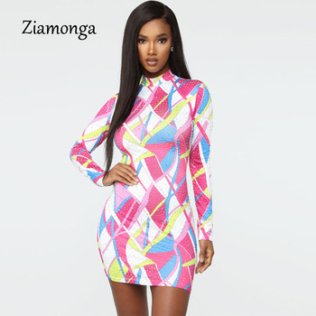 Kyliejenner Inspired Elegant Bodycon Dress High Neck Long Sleeve Print Mini Dress Stretch Slim Party Dress