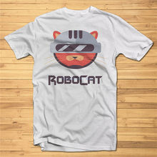 Mens T-Shirt Print Robocat Dtg Fancy Cool Tshirt Tees High Quality Graphic Custom Print Tee Shirt(China)