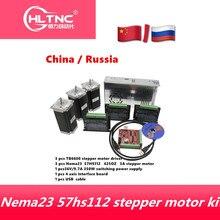 Kit de 3 ejes para enrutador CNC controlador de motor paso a paso TB6600, 3 uds. NEMA23 425 Oz dc motor + fuente de alimentación de 350W + 1pc interfaz de 4 ejes jabalí