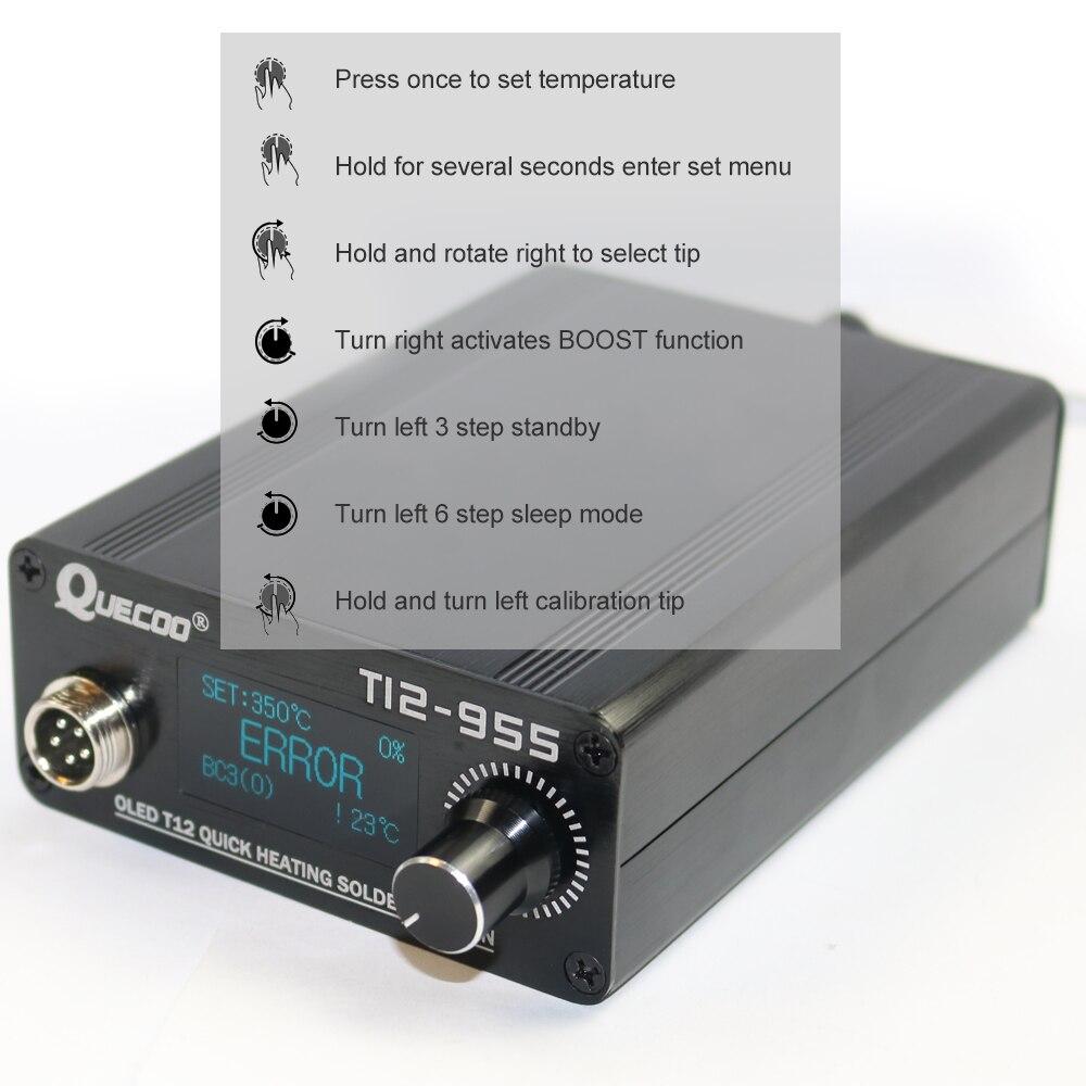 Tools : STM32 T12-955 Soldering Station Electronic Soldering iron 1 3inch Digital station solder iron tip welding tool no plug