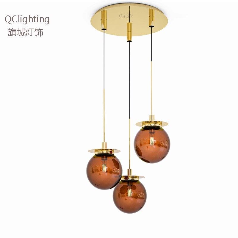 Işıklar ve Aydınlatma'ten Kolye ışıkları'de Modern loft cam küre kolye ışık LED E27 İskandinav asılı lamba için 2 renk oturma odası restoran yatak odası lobi mutfak title=