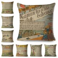 Funda de almohada Vintage de dibujos animados de Staves, funda de almohada musical para niños, funda de cojín de lino de 45x45cm para sofá o silla de hogar