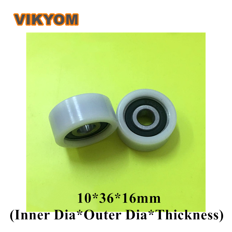 1pcs U Nylon plastic Embedded 6200 Groove Ball Bearings 10*56*27mm Guide Pulley