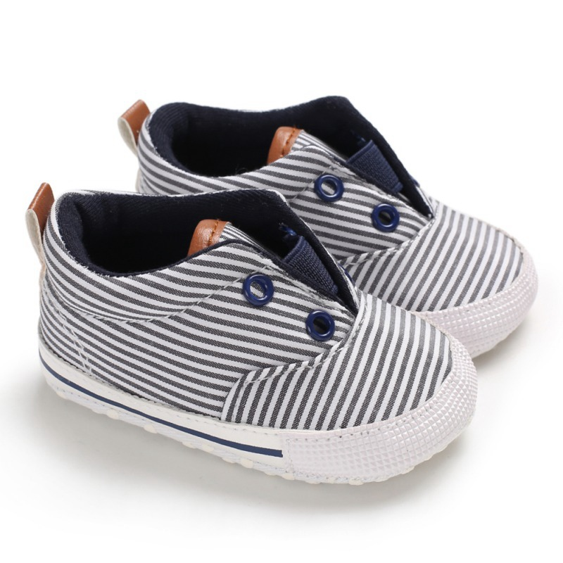 0-18M Baby Boy Striped Anti-Slip Shoes Casual Walking Soft Soled First Walkers