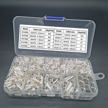1755pcs Tube Bare Crimp Terminals Electric Copper Naked Cord End Terminal Wire Connector Cable Ferrules EN0508~25-16 Kit 22-4AWG