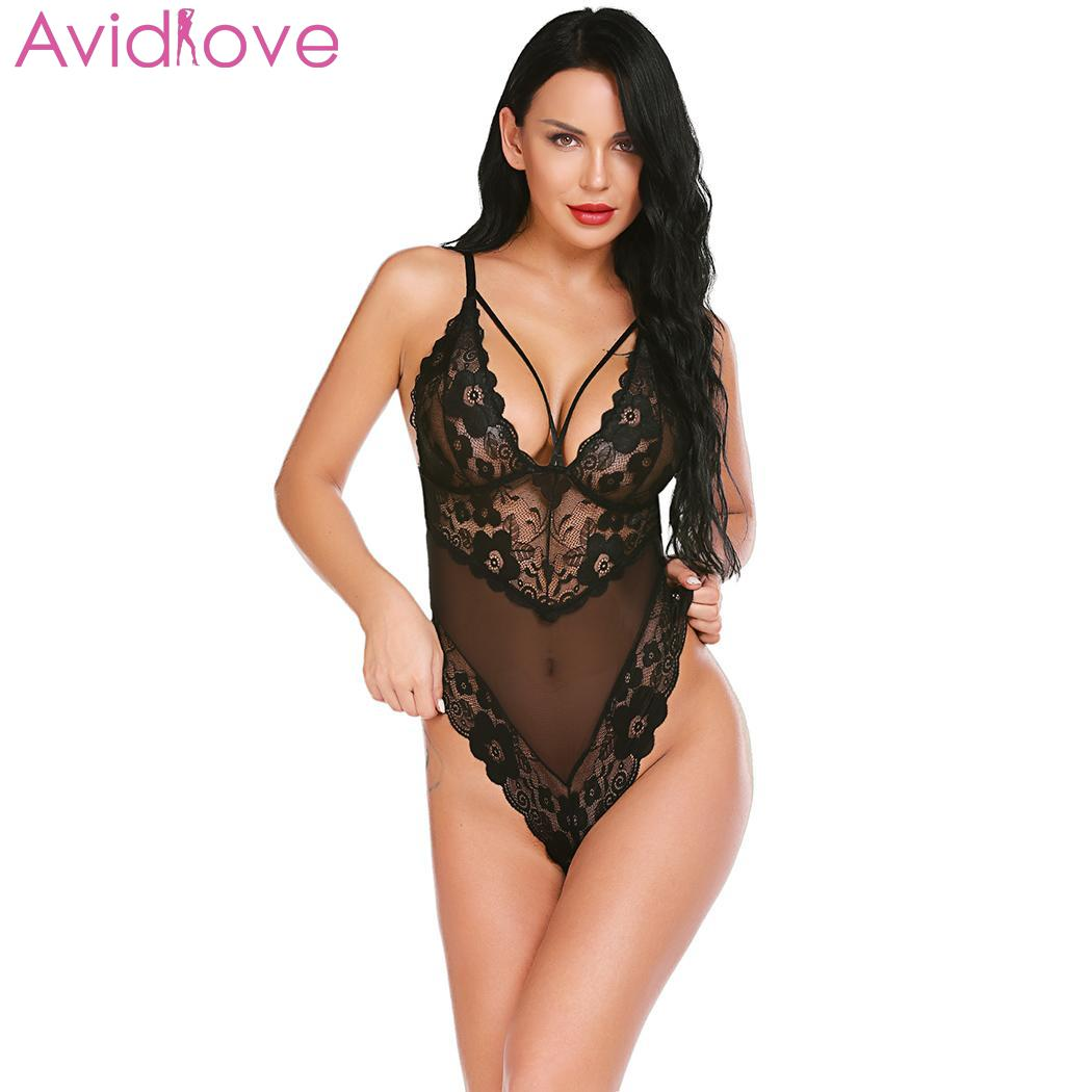 Avidlove 2019 New Lace Floral Sexy See Through Chemise Bodysuit Sexy Lingerie Teddies Bodysuits For Women Babydoll|Teddies & Bodysuits| | - AliExpress